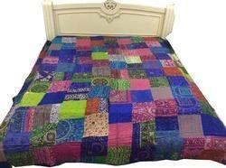 Vintage Kantha Silk Patchwork Gudri