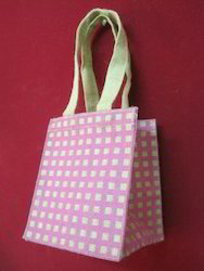 Pink Checks Jute Bag