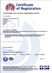 Certificate for Health and Safety OHSAS