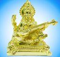 Saraswati Gold Plated Statue