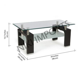 Wooden Teapoy Glass Coffee Table White from Chennai