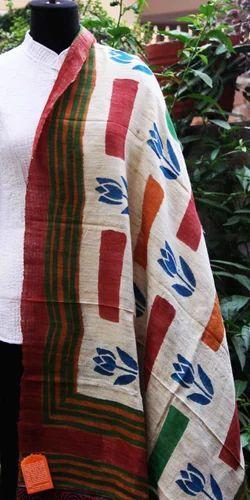 Block Printed Silk Dupatta
