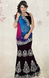 Dark+Purple+Blue+%26+Magenta+Net+and+Velvet+Saree+with+Blouse