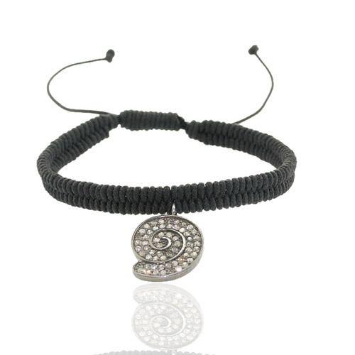 Diamond Snail Charm Macrame Bracelet