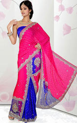 Rani+Pink+%26+Royal+Blue+Satin+Chiffon+and+Net+Ready+Saree