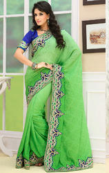 Light+Dark+Pista+Green+Color+Faux+Chiffon+Jacquard+Saree