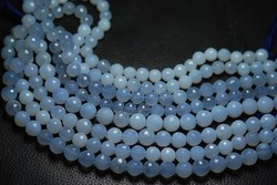 Natural Blue Chalcedony Round Rondelles Faceted