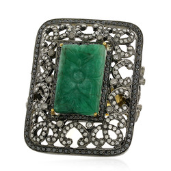 18k Gold Emerald Carving Ring