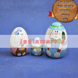 Custom Hand Painted Easter Eggs - Wooden Nesting Eggs