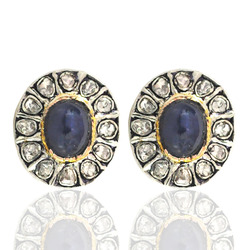 Rose Cut Diamond Blue Sapphire Earrings