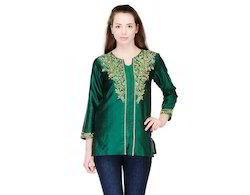 Bottle+Green+Art+Silk+Kurtis+with+Golden+Embroidery