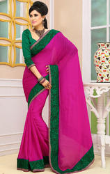 Dark+Magenta+Color+Bhagalpuri+Silk+Saree+with+Blouse