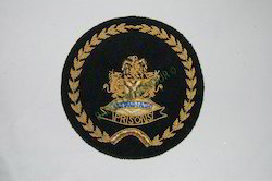 Prision Logo-single Wreath On Green Fabric Embroidered Badge