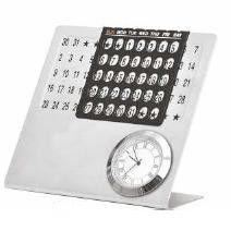 Metallic Desktop Calendar with Watch