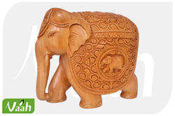 Vaah Wooden Carved Elephant