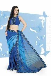 Blue Designer Printed Sarees