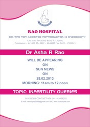 Dr. Asha  R Rao  Will Be Appearing On Sun News On 28th Feburary 2013. 11am To 12 Noon.