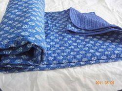 Blue Indigo Block Print Kantha Quilt