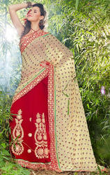 Beige+%26+Red+Faux+Georgette+and+Brasso+Saree+with+Blouse