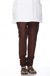 Brown Plain Churidar Leggings