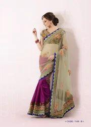 Designer Sari Embroidery Net Party Wear Sarees