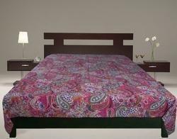 Kantha Gudari Paisley Pink Handmade Blanket,Bed Cover