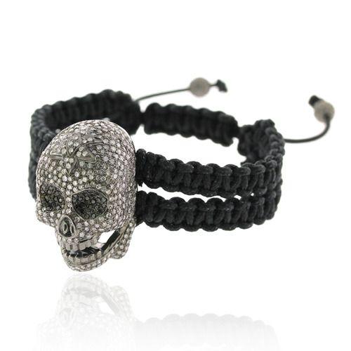 Diamond Skull Charm Macrame Bracelet