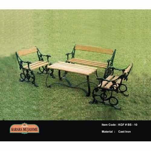 Antique Cast Iron Outdoor Garden Bench Set