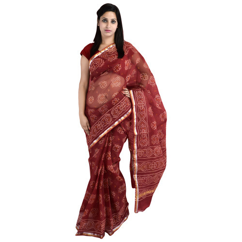 Traditional Bandhej Print Kota Doria Saree With Zari