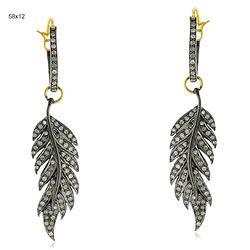 14k Gold Diamond Leaf Hoop Earrings