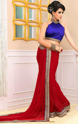 Maroon+Color+Faux+Chiffon+Sarees+with+Blouse