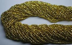 Yellow Pyrite Faceted Rondelles, Strand 14 Inches , 3-3.5 mm