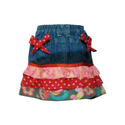 girls denim skirt with printed panel