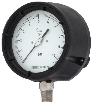 Baumer Solid Front Process Gauge (4 1/2) Bourdon Type