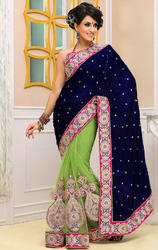 Royal+Blue%2C++Parrot+Green+Velvet+%26+Net+Saree+with+Blouse