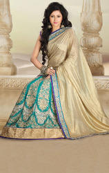 Beige+and+Sky+Blue+Color+Shimmer+and+Satin+Lehenga+Saree