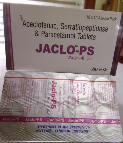 Aceclofenac, PCM & Serratiopeptidase (Jaclo-PS Tablets)