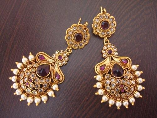 Long Half Round Pearl Polki Earring Wine Colour