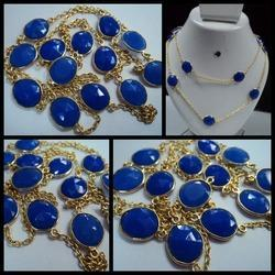 gold plated blue chalcedony bezel gemstones chain necklace