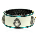 Turquoise Beads Diamond Enamel Cuff Bangle