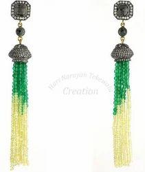 Aqua+Tassel+Earrings