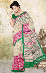 Cream+and+Pink+Color+Net+Jacquard+Printed+Saree+with+Blouse