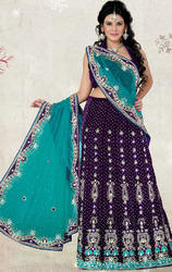 Sea+Green+%26+Purple+Color+Net+%26+Velvet+Lehenga+Saree