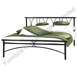 Metal Double Beds - Black and Chrome Double Bed, Rubber Wood