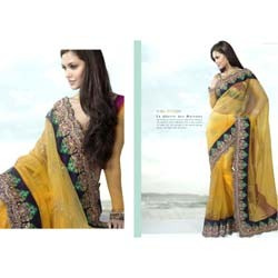 Yellow with Green Border Saree