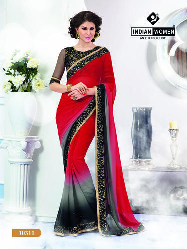 Red And Black Georgette Buy Sarees
