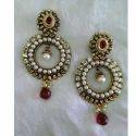 Red Kundan Small Earrings