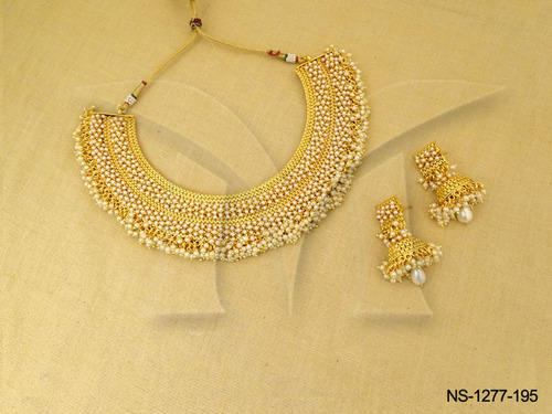 Golden Bridal Design Antique Jewellery Necklace