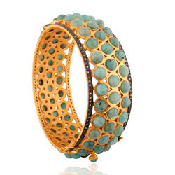 pave diamond emerald gemstone 18k gold bangle jewelry