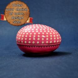 Hand Painted Pink Polka Dots Egg Shapped Trinket Boxes